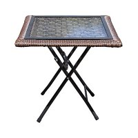 """View Wilson & Fisher 18"""" Square Glass Top Resin Wicker ..."""