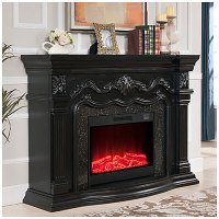 """View 62"""" Grand Black Electric Fireplace Deals at Big Lots"""