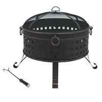 """35"""" Deep Bowl Firepit with Mesh Dome Top 