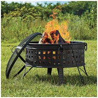 "35"" Deep Bowl Firepit with Mesh Dome Top 