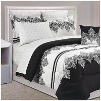 Dan River Black & White Lace Queen 8-Piece Bed-In-A-Bag ...