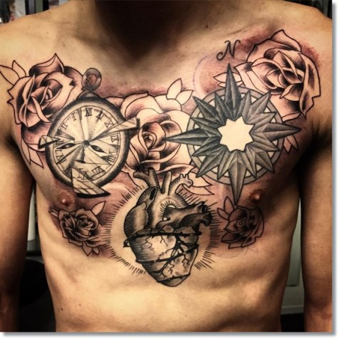 pocket-watch-compass-tattoo-on-chest