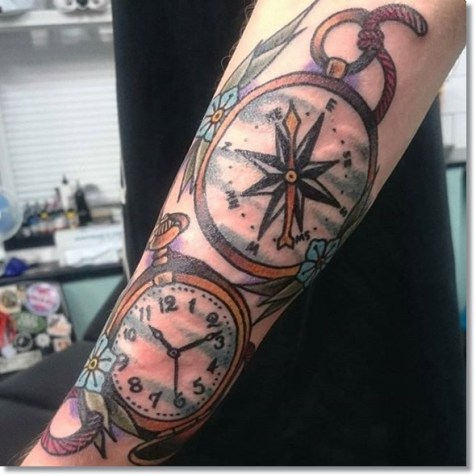 pocket-watch-compass-tattoo-on-sleeve