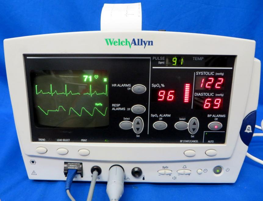 Welch Allyn 6200 NIBP Pulse Ox EKG Printer 90 Day Warranty