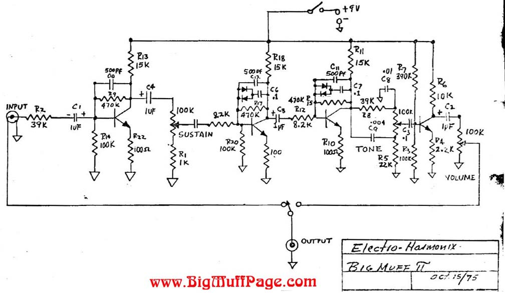 Big Muff Pi Versions and Schematics