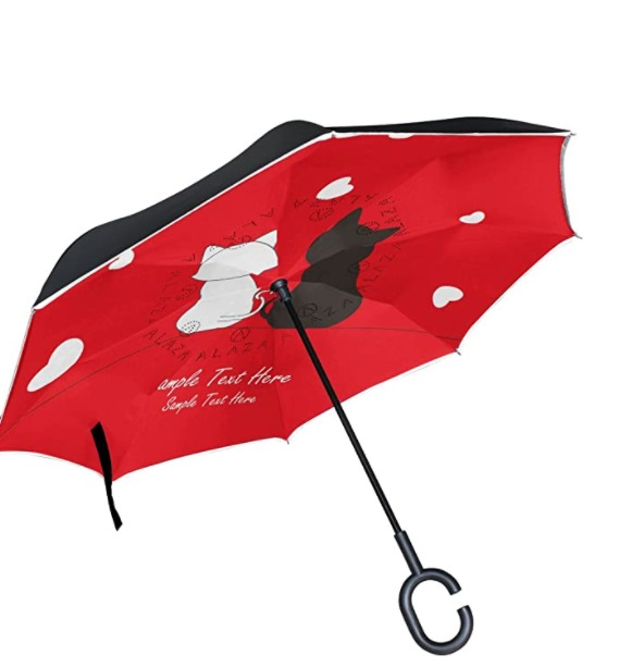 Double layer large reverse windproof umbrella with kittens
