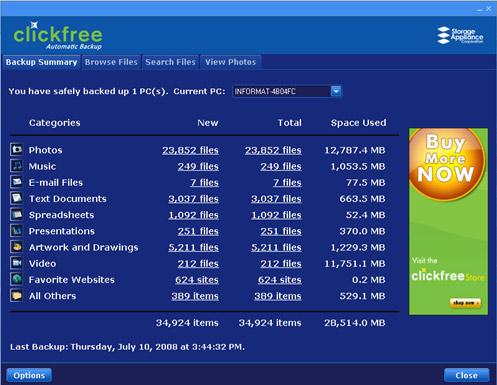 clickfree hd701 automatic backup