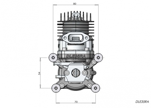 DLE35RA gas engine with rear exhaust (35cc, 4.1hp, 1060gr