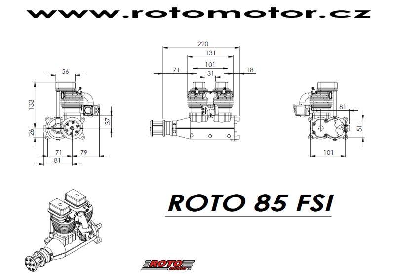ROTO 85 FSI inline 85cc rc model gas engine (5.5hp, 2800gr)