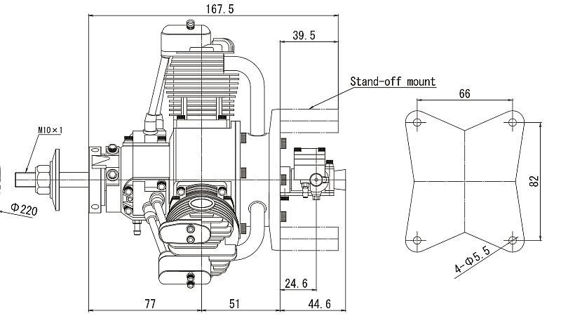 SAITO FG-60R3 60cc Radial gas engine (4.6hp, 2100gr)