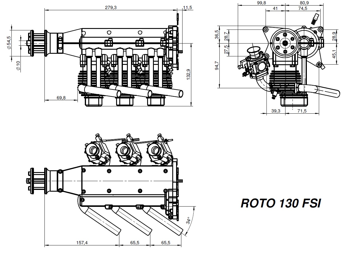 Roto 130 Fsi 130cc Gas Engine Hp Gr