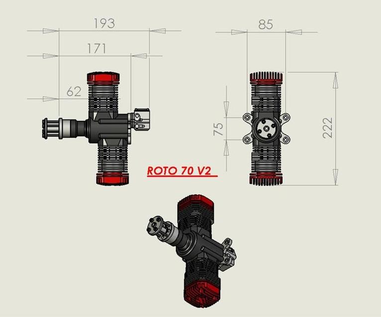 ROTO 70V2 70cc rc model gas engine (2490gr)