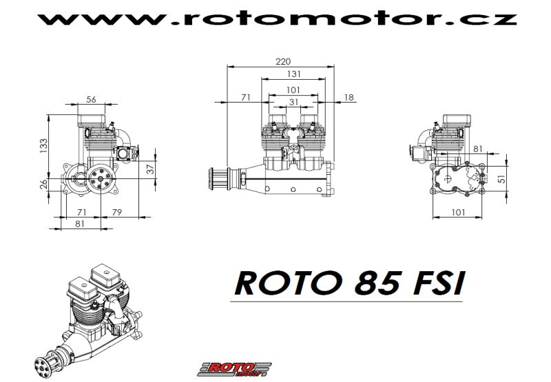 ROTO 85 FSI inline 85cc rc model gas engine (5.5hp, 2800gr)