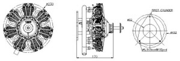 UMS 7-90cc Radial 4-stroke Gas Engine (6hp, 3200gr)