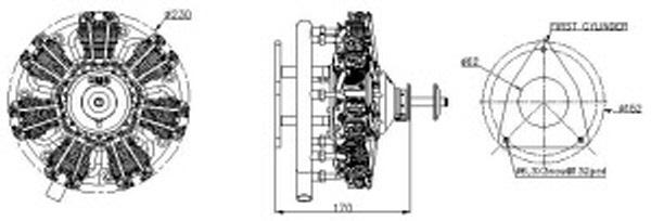 UMS 9-99cc Radial 4-stroke Glow Engine (6hp, 3500gr)