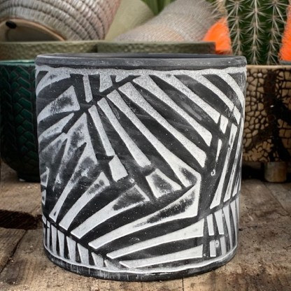 Palm Leaf Ceramic Pot - available in black or green
