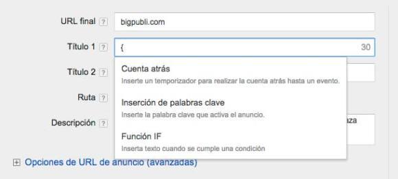 funciones para personalizar anuncios en adwords