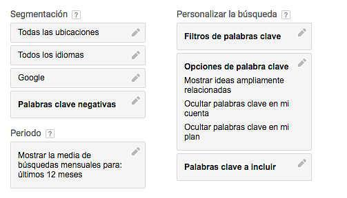 Filtros de búsqueda del keyword planner