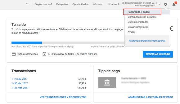 facturación y pagos adwords