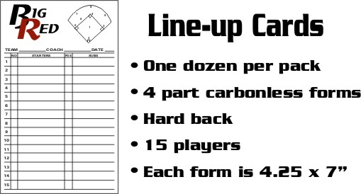 Line up Cards for Baseball, Softball and Volleyball