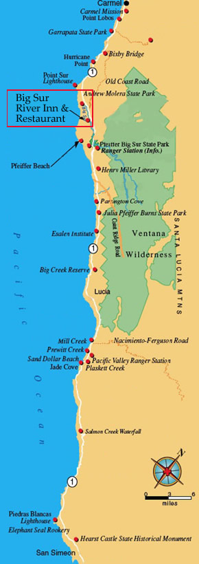 Big Sur Lodging  Map  Dirctions  Big Sur River Inn  Restaurant  Hotel at Big Sur California