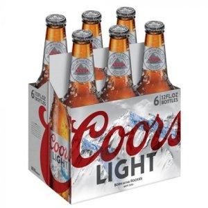 Coors Light Bottles 12oz 6 Pack beer