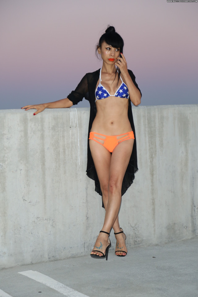 Bai Ling Beautiful Posing Hot Babe Orange American Chinese Bikini