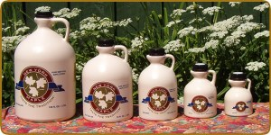 Big Tree Maple Sells 5 different sized jugs of Pure New York Maple Syrup and a table size squeeze bottle.