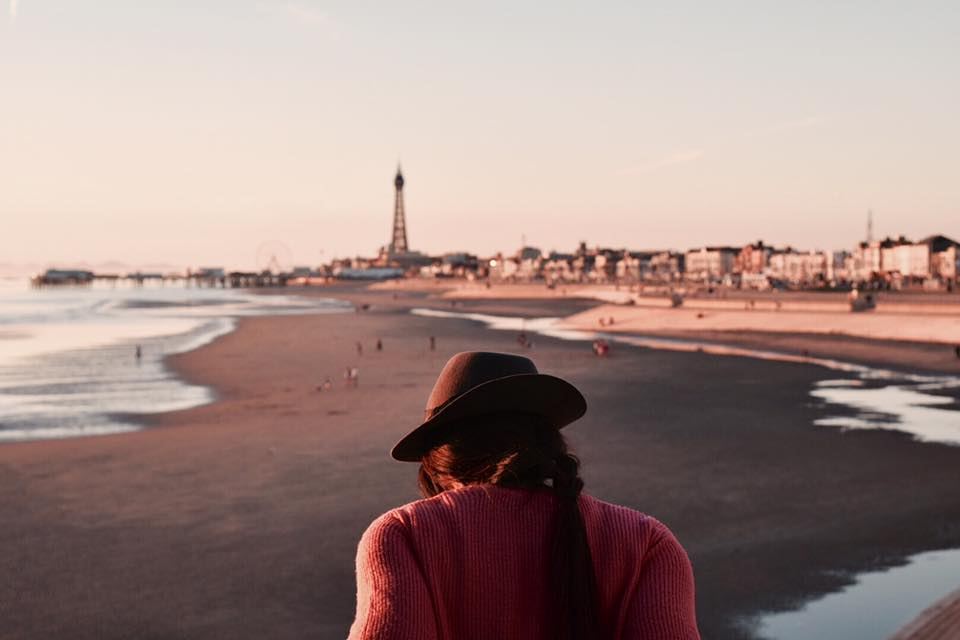 Orawan on the pier with Blackpool tower in the distance