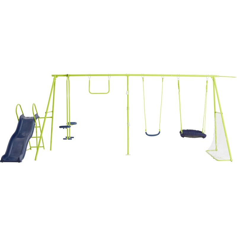 hanging chair big w fold up bed trampolines swingsets toys action sports 8 station swingset