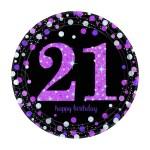 Sparkling Celebration Happy 21st Birthday 9 Paper Plates 8 Pack Pink Big W