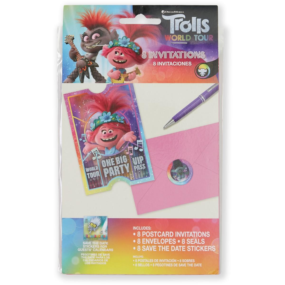 trolls world tour postcard invitations 8 pack