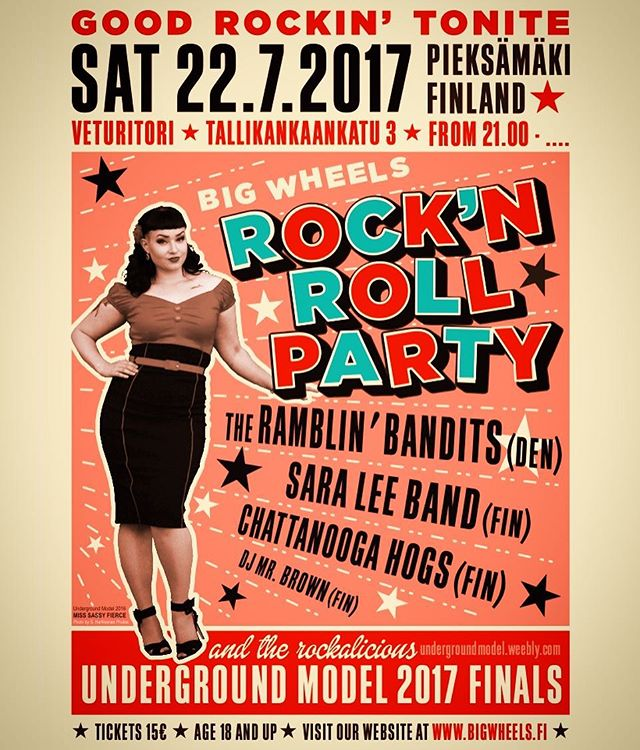 Big Wheels Rock'n Roll Party 2017 line-up is here! The Ramblin' Bandits, SaraLee Band, Chattanooga Hogs! Underground Model 2017 finals! At Veturitori, Pieksämäki on 22nd July 2017. Tickets 15€. @saralee.rocks @ramblin_bandits @undergroundmodel Special thanks for the poster @miss_sassyfierce @shrelics @heikkiskytta