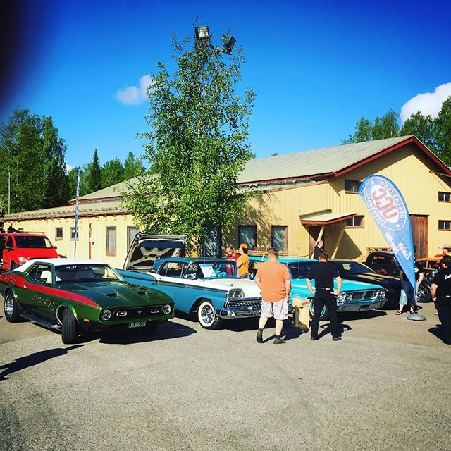 Sorsakoski, Finland. @usacarclub cars on a roadtrip, promoting Big Wheels.