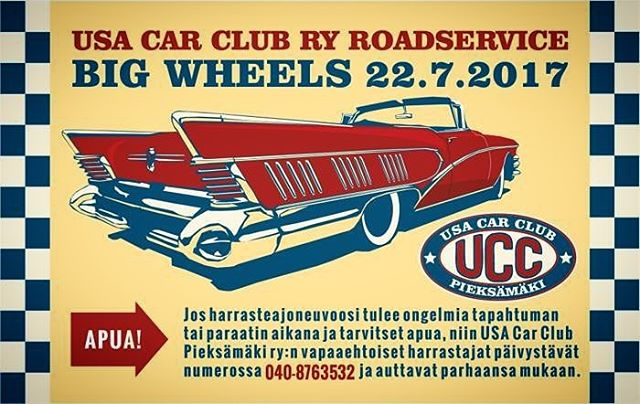 @usacarclub offers roadservice at Big Wheels in Pieksämäki from friday 21.7. to sunday 23.7. for all kinds of classic cars in trouble. Let's hope you don't have to worry about it but remember it's there if you need it.