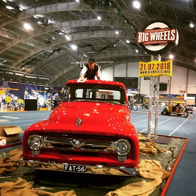 Work in progress 🏻 at @hotrodrockshow, Tampere, Finland. Big Wheels & @usacarclub  stand A311 with '56 Ford F100.