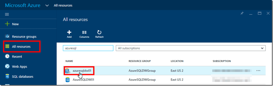 Azure SQL Data Warehouse Firewall Settings