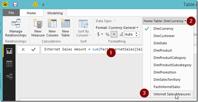 Power BI new measure change home table