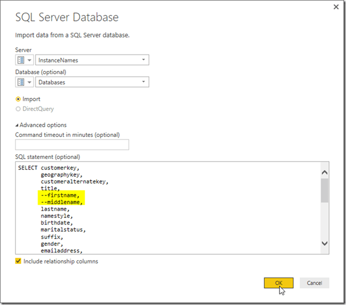 Import Data From SQL Server Parameters