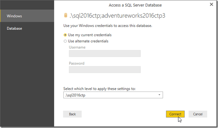 Power BI Desktop Access SQL Server
