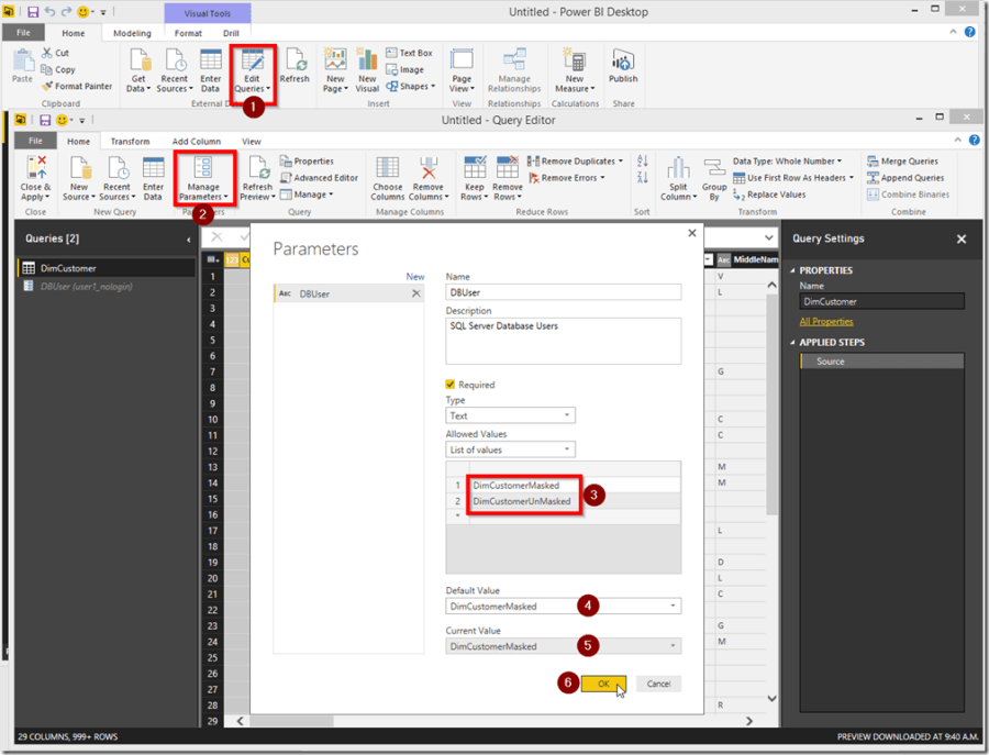 Power BI Desktop Edit Query Parameters