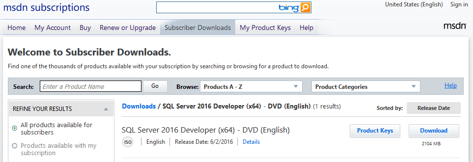 sql server 2016 developer key