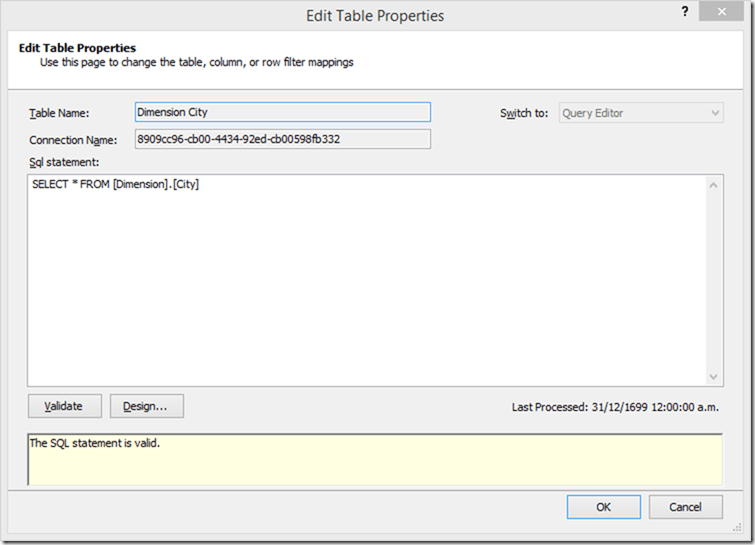SSAS Tabular Edit Table Properties