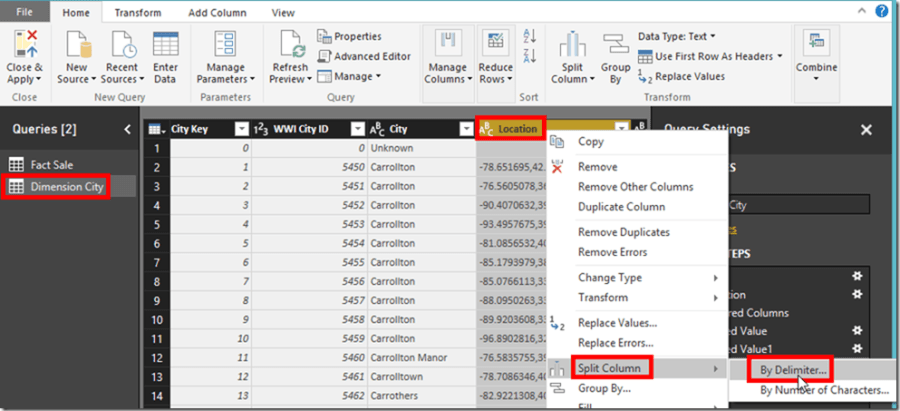 Power BI Desktop Power Query Split Column