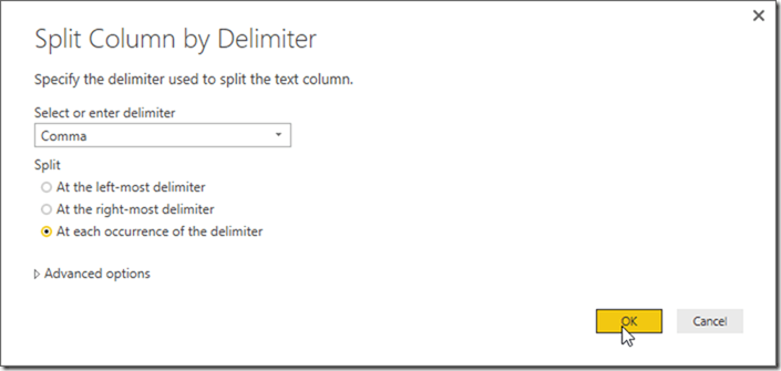 Power BI Desktop Power Query Split Column