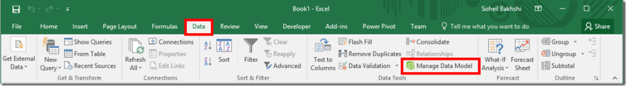 Excel 2016 Manage Data Model