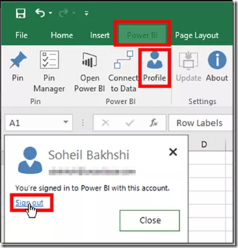 Power BI Publisher for Excel Switching Power BI Accounts