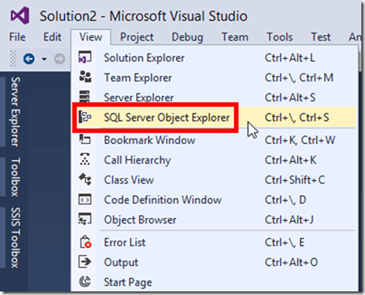 SQL Server Object Explorer Visual Studio