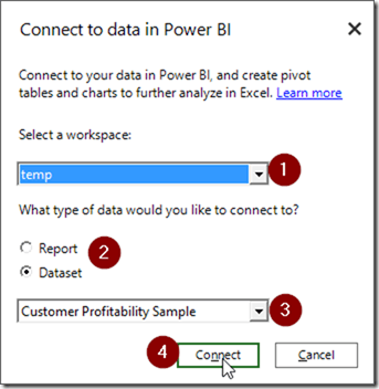 Power BI Publisher for Excel Connect to Data in Power BI