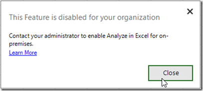 Analyse in Excel is disabled